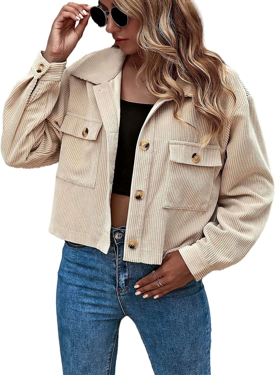 Eteviolet Women's Casual Cropped Corduroy Jackets Button Down Long Sleeve Shirts Jacket With Pockets