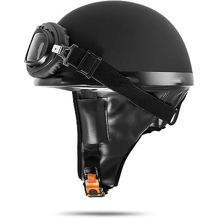 Veb Standard Ato Moto Retro Motorradhelm Oldtimer Helm Halbschale Schwarz Mit Brille Größe S M L Xl S 55cm 56 Cm Auto