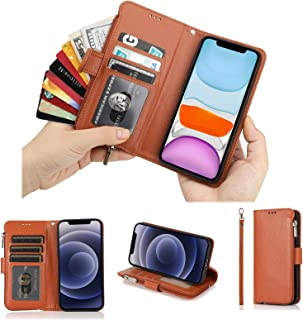 Cavor for iPhone 12 Case,for iPhone 12 Pro Case,PU Leather Zip Pocket Wallet Flip Cover Case Magnetic Closure Book Design ...