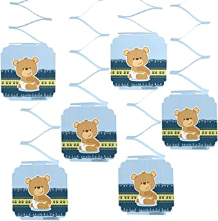 Big Dot of Happiness Boy Teddy Bear - Baby Shower or Birthday Party Hanging Decorations - 6 Count