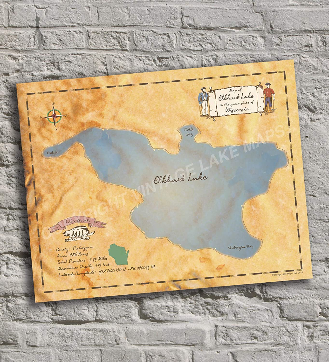 Elkhart Lake Indianapolis Mall - Popularity Wisconsin Vintage-Inspired Map Print Poste