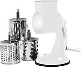 Reston Lloyd Multi Purpose Grater with 3 Stainless Steel Grating Barrels, Suction Base, White