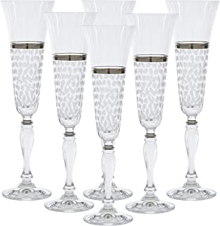 Glazze Crystal Set of 6 Handcrafted Bohemian-Crystal Champagne Flute Glasses with Hand Painted Real Platinum Detailing   Hand Cut Raindrops Pattern   Unique Luxurious Gift for Men and Women