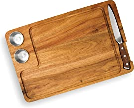 Yukon Glory Steak Board for Serving Steak, Meat, and Poultry in Style, Premium Acacia Wood, Includes Sauce Cups and Steak ...