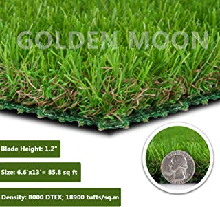 GOLDEN MOON Realistic Artificial Grass Mat 6-Tone Mowed-Lawn Touch Outdoor Turf Rug 30mm Blade Height Series Green 6.6'x 13'(85.8sq ft)