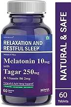 Carbamide Forte Melatonin 10mg with Tagara 250mg Sleeping Aid Pills for Deep Sleep | Non Habit Forming Sleep Supplement – 60 Veg Tablets