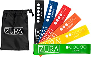 ZURA Yoga Resistance Bands for Exercise, Fitness, Set of 6 12-Inch Loop Workout Bands for All Levels, with Free Bag