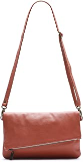 product image for Coral/Rust Foldover Clutch and Crossbody Italian Leather Bag