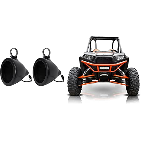 Pair Honda Pioneer 6.5 Roll Cage Roll Bar SSV Tower Speakers+Pods+White Grills