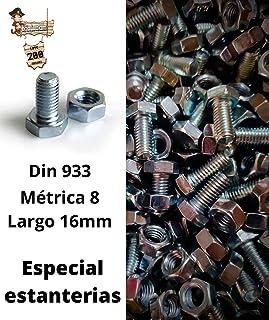 BricoLoco Pack 200 uds. Tornillo estantería con tuerca hexagonal métrica 8. Para estantería metálica ángulo ranurado. Larg...