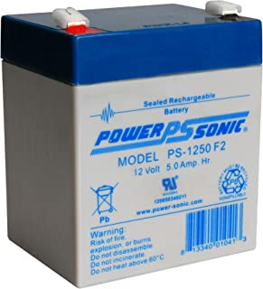 Powersonic PS-1250F2-12 Volt/5 Amp Hour Sealed Lead Acid Battery with 0.250 Fast-on Connector