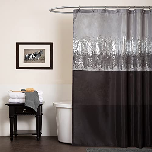 Lush Decor Night Sky Shower Curtain | Sequin Fabric Shimmery Color Block  Design For Bathroom,
