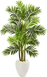 Nearly Natural 63in. Areca Palm Artificial White Planter Silk Trees, Green