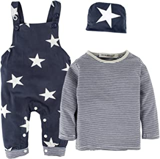 BIG ELEPHANT 3 Pieces Baby Boys' Long Sleeve Shirt Overalls Set with Hat H92A