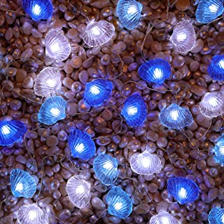 SFgift Seashell String Lights, 13.5ft Battery Operated Cold White LED, 40pcs Lights with Remote Control and Timer for Wedd...
