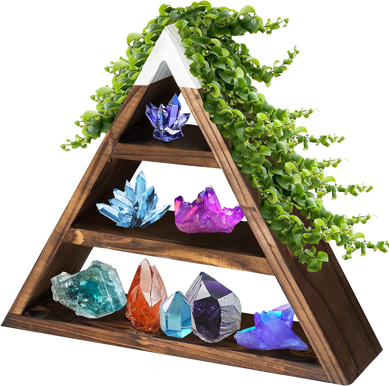 TheHomeNudge Wood Triangle Shelf Organizer - Cute, Sturdy, Easy to Hang Wood Triangle Wall Shelf, Wooden Triangle Shelves for Crystal, Boho Vintage Room Decor Aesthetic Shelving, Crystal Shelf Display