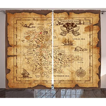 Ancient pirate map Kitchen Curtains 2 Panel Set Decor Window Drapes