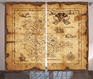 Ambesonne Island Map Curtains, Super Detailed Treasure Map Grungy Rustic Pirates Gold Secret Sea History Theme, Living Room Bedroom Window Drapes 2 Panel Set, 108