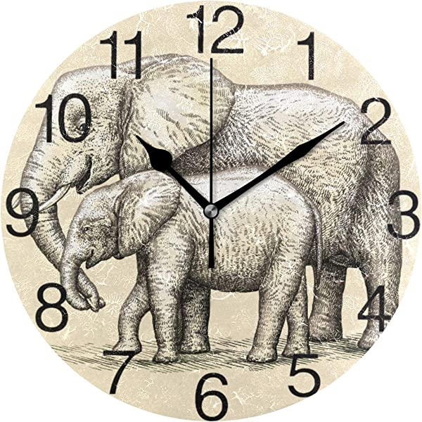 Senya Engrave Elephant Design Round Wall Clock Silent Non Ticking Oil Painting Decorative For Home Office School Clock Art