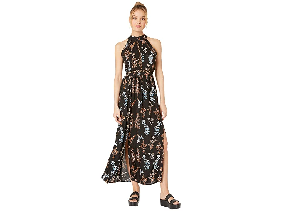 Angie High Neck Printed Dress w/ Keyhole Back (Black) Women