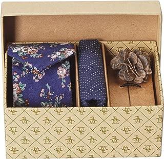 Men's 3-Piece Floral Tie, Pocket Square & Lapel Pin Box, Navy, One Size