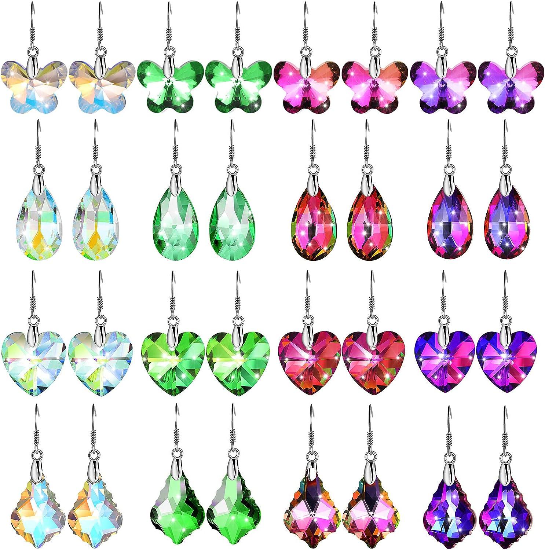 Yaomiao 16 Pairs Multi-Color Dangle Earrings Rainbow Crystal Earrings Crystal Dangle Drop Earrings for Girl, Women, 4 Shapes