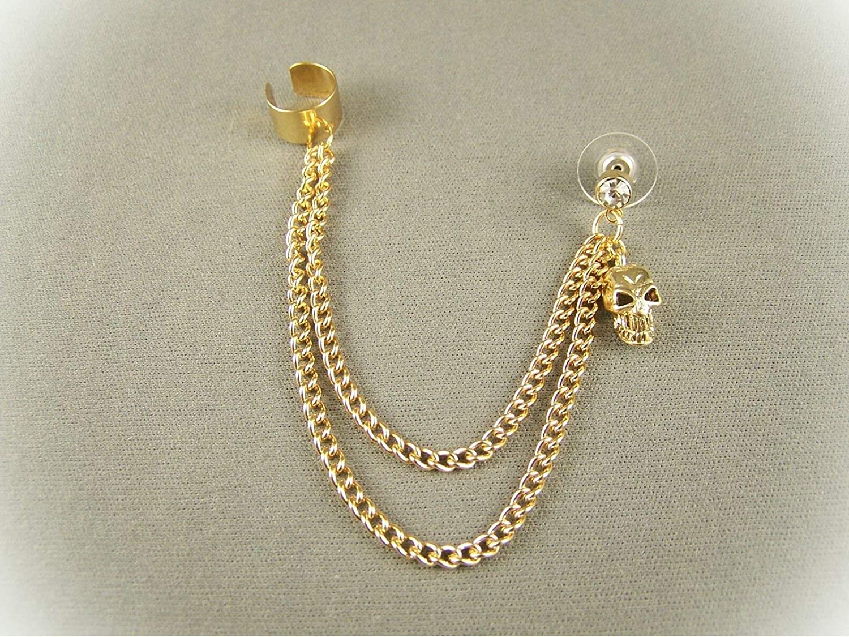 Gold Tone Dangle Post Stud Skull Earring Ear Cuff 4