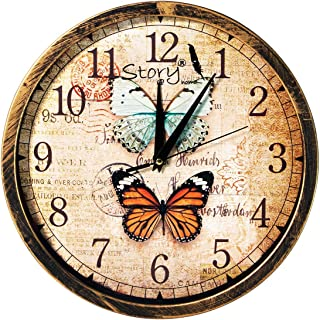 Story@home 12-inch Vintage Collection Round Shape Wall Clock with Glass for Home/Kitchen/Living Room/Bedroom (Beige)