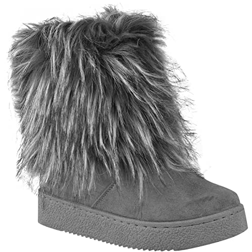 988c91d03 Fashion Thirsty Womens Ladies Flat Faux Fur Furry Winter Ankle Boots Low  Heel Fluffy Casual Size