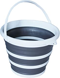 Collapsible Plastic Bucket with Handle,Car Wash Bucket,Collapsible Bowls for Camping, Fishing,10L Cleaning Pail, Mop with Handle(Grey)