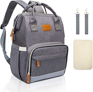 Diaper Bag Backpack, Baby Bag with Portable Changing Pad & Stroller Straps, Waterproof Multifunction Travel Back Pack for Mom Dad with Insulated Pockets, Large Capacity (Gray)