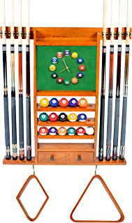 Cue Rack Only - 8 Pool - Billiard Stick & Ball Wall Rack W Clock Chose Mahogany, Black or Dark Oak Finish