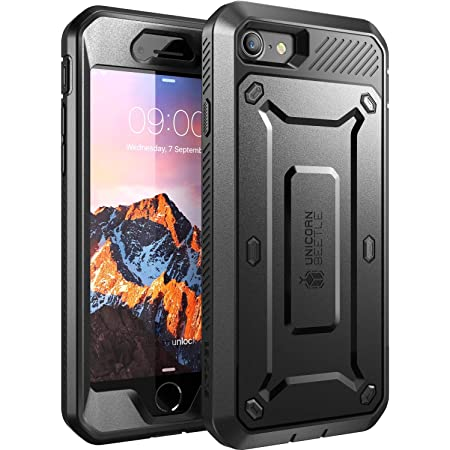 SUPCASE Unicorn Beetle Pro Series Case Designed for iPhone 7/iPhone 8/ iPhone SE 2nd generation (2020 Release), Full-body Rugged Holster Case with Built-in Screen Protector(Black)