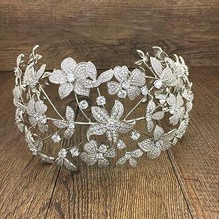 Love lamp Diademi da Donna Accessori for Capelli da Sposa con zirconi cubici in zircone Pieno pavimentato con Fiori Corona...