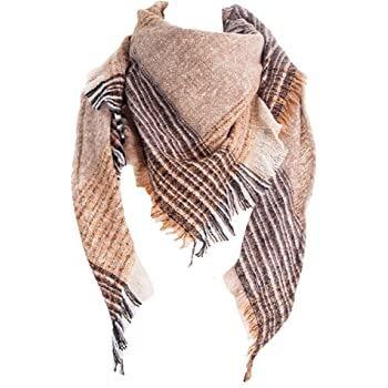 Wander Agio Womens Warm Scarf Triangle Shawls Scarves Stripe Plaid Fichu Rough Surface