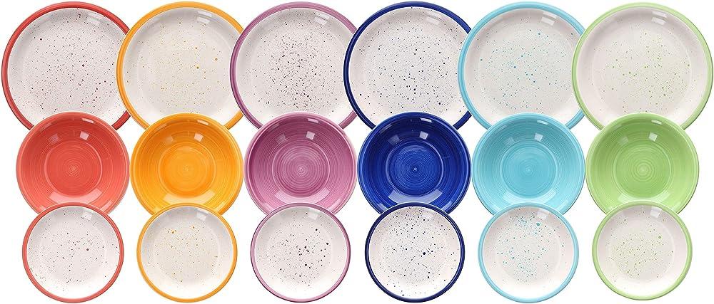 tognana , servizio da tavola 18 pezzi,  in ceramica  multicolore ls170185653