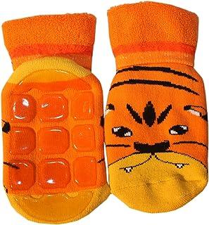 Weri Spezials Calze alte in spugna ABS: cucciolo di tigre per Bimbo 3-4 Anni (23-26) arancia