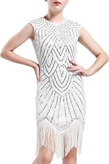 BABEYOND Vestito Gatsby Donne 1920s Vestito Abito Anni 20 Donna Flapper Dress 1920s Vestito da Sera Paillette Impreziosito...