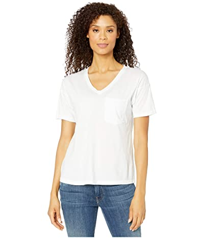 Mod-o-doc Superme Easy Fit Short Sleeve V-Neck Pocket Tee (White) Women