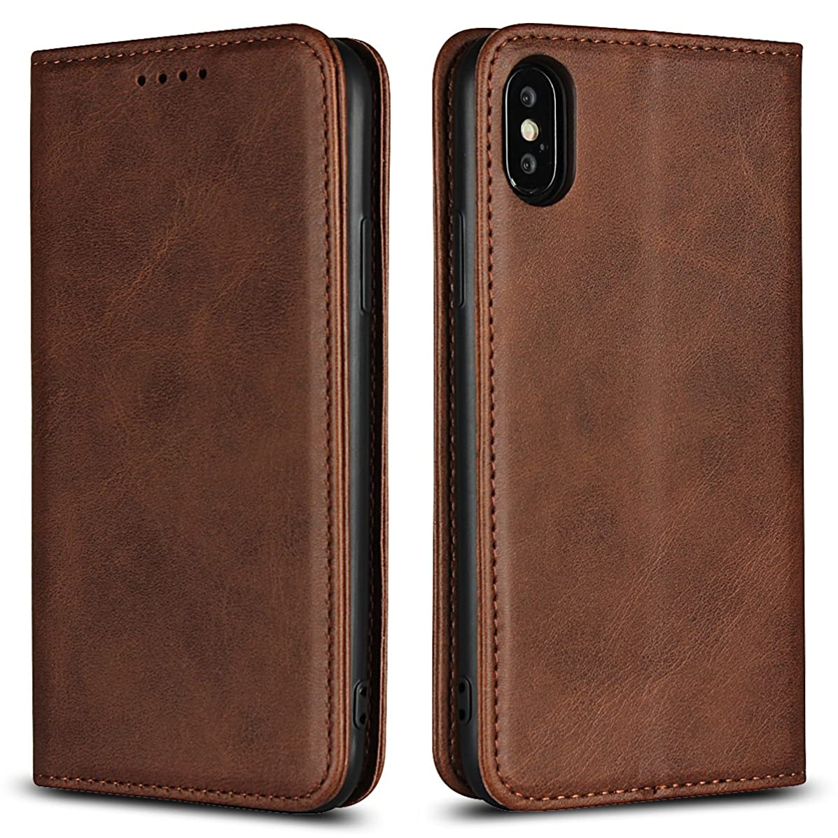 Scheam iPhone X Case Cover, Excellent Shell Anti-Scratch Wallet Case [Card Pocket] Protective Shell Armor Hybrid Shockproof Rubber Bumper Cover with Card Slot Holder - Brown