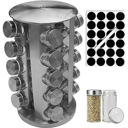 Cuisatel Carrousel à épices Rotatif 360°   20 Pots à Epices en Verre   17,8 x 33 cm (D x H)   20 Etiquettes et marqueur inclus   Présentoir à Épices   Inox   Rangement épices