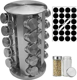 Cuisatel Carrousel à épices Rotatif 360° | 20 Pots à Epices en Verre | 17,8 x 33 cm (D x H) | 20 Etiquettes et marqueur in...