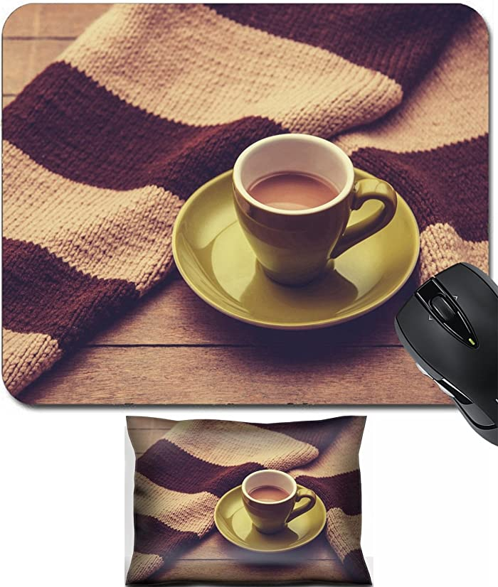 MSD Mouse Wrist Rest and Small Mousepad Set, 2pc Wrist Support design 26702842 Green cup of the coffee and vintage scarf Photo with filter as a retro color image style