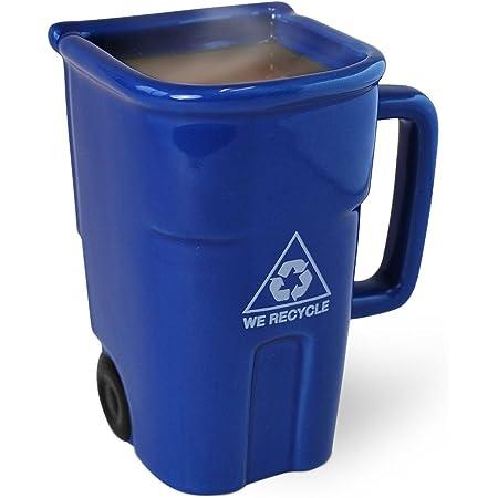 BigMouthThe Recycling Bin Mug, Fun Blue Ceramic Trash Can Drinking Mug for Coffee or Tea, Holds up to 12 oz.