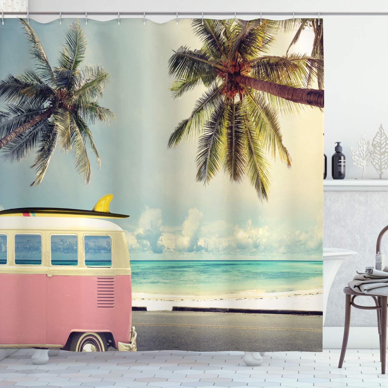 Ambesonne Surf Shower Curtain, Minivan The Beach Retro Inspired Vacation Clouds in Summer Sky Honeymoon Destination, Cloth Fabric Bathroom Decor Set with Hooks, 84