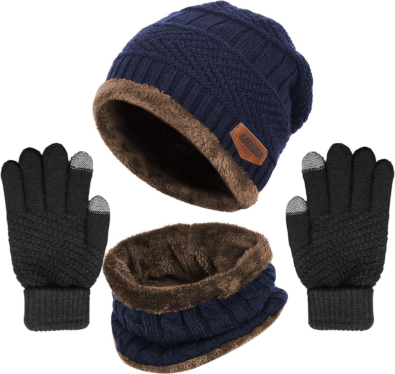 Winter Knit Beanie Hat Neck Warmer Gloves Fleece Skul Lined Financial sales sale Bargain sale Set