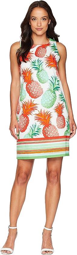 Cotton Sateen Pineapple Print Shift Dress