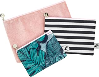 Yoobi Zipper Pouch 3-Pack | Hold Pens, Pencils, Coins, Makeup | Tropical Design | Travel, School, Office Use