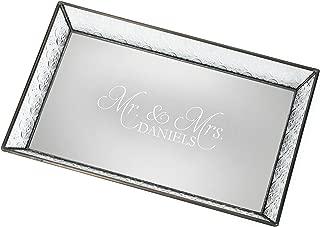 J Devlin Tra 106-1 ET208 Personalized Vintage Glass Jewelry Tray with Mirrored Bottom Wedding Gift Decorative Dresser Engraved Vanity Organizer