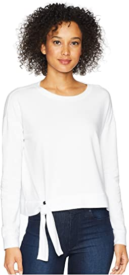 Cotton Modal Spandex French Terry Drop Shoulder Sweatshirt with Tie